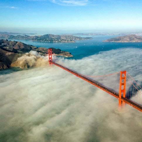 San Francisco aerial photography Golden Gate Bridge with Fog