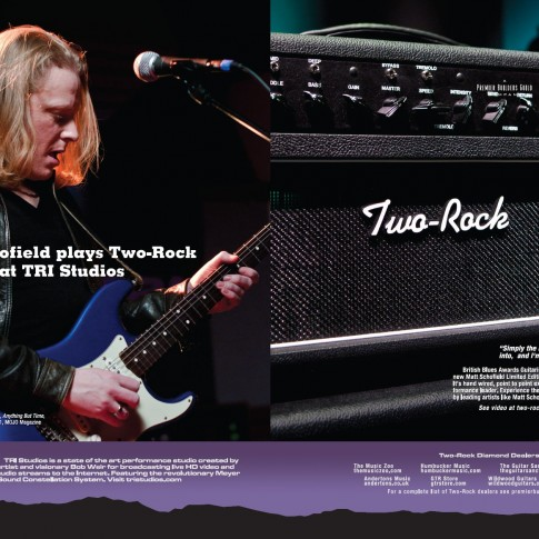 Ad for Two-Rock amplifiers and TRI Studios featuring Matt Schofield photographed by Bob Minkin