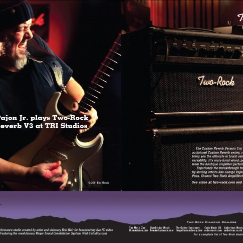 Ad for Two-Rock amplifiers and TRI Studios featuring George Pajon Jr. photographed by Bob Minkin