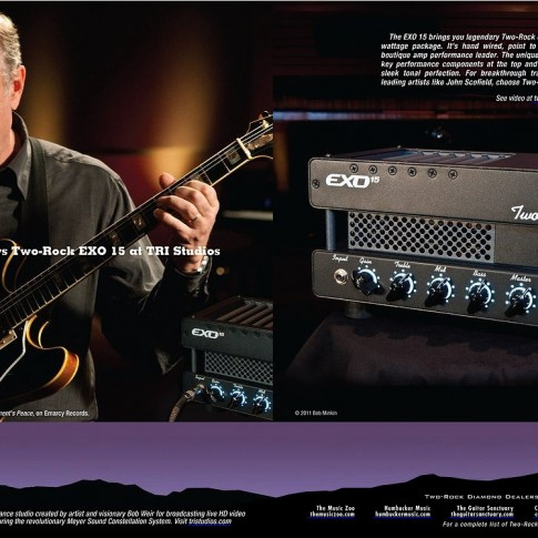 Ad for Two-Rock amplifiers and TRI Studios featuring John Scofield photographed by Bob Minkin